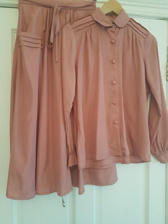 Vintage 1970s Marion Donaldson pink skirt suit (sk
