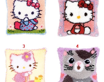 LATCH HOOK PILLOW KIT 15.7 X 15.7 INCHES NEW RED HELLO KITTY