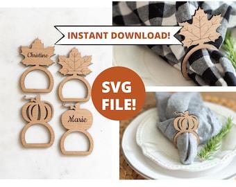 Napkin Ring SVG, Thanksgiving Napkin Ring svg, Napkin Holder svg, Glowforge SVG File, Table Setting svg, Pumpkin SVG, Fall svg napkin