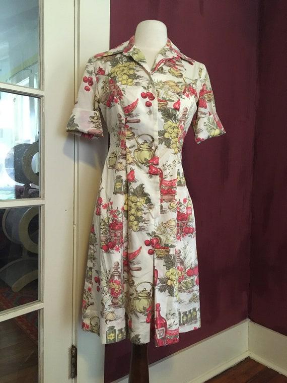 French Novelty Print Day Dress - image 2