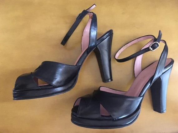 Black 40s Style Ankle Strap Platform Shoes