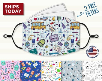School Face Mask, Reusable, Washable, 3 Layer, Cotton Mask, Nose Wire,  Filter Pocket and Filters, Adjustable Ear Loops for Adult & Kids