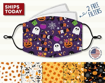 Halloween Face Mask, Reusable, Washable, 3 Layer, Cotton Mask, Nose Wire,  Filter Pocket and Filters, Adjustable Ear Loops for Adult & Kids