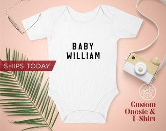 Baby Name Onesie / Toddler T-Shirt / Organic Custom Baby Onesies / Personalized Baby Onesie / Personalized Gift, Newborn Gift