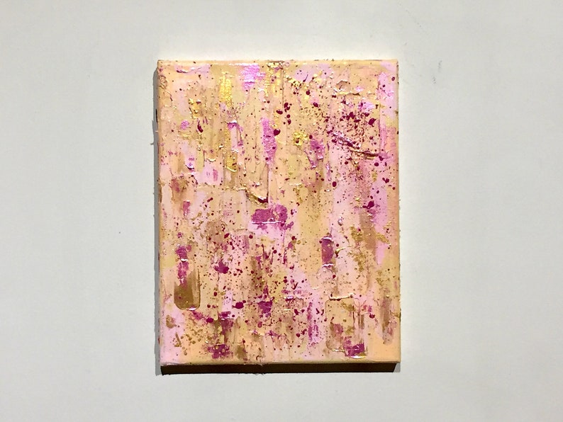 ORIGINAL Abstract acrylic painting PINKY POOF  8 x 10  signed in back  unframed
