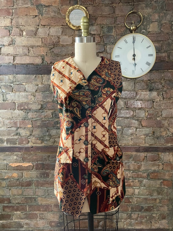 70s Mollie Parnis Boutique dress and vest set silk and velveteen dress embroidered velveteen holiday dress