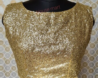 Designer blouse Wedding blouse Customize Blouse Gold lycra sequin blouse Saree Blouse Sari blouse