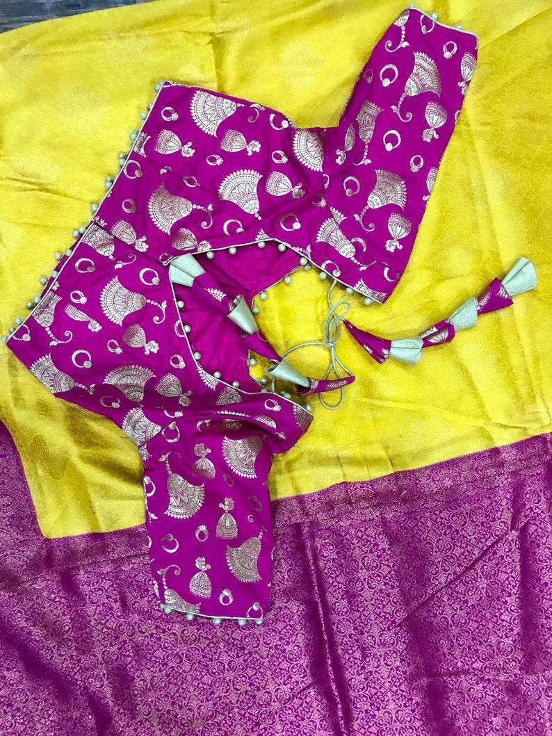 Beautiful Yellow and Pink Banaras Soft Silk Fancy Saree Comes  Designer Pink Banaras Stitched-Customized Blouse.