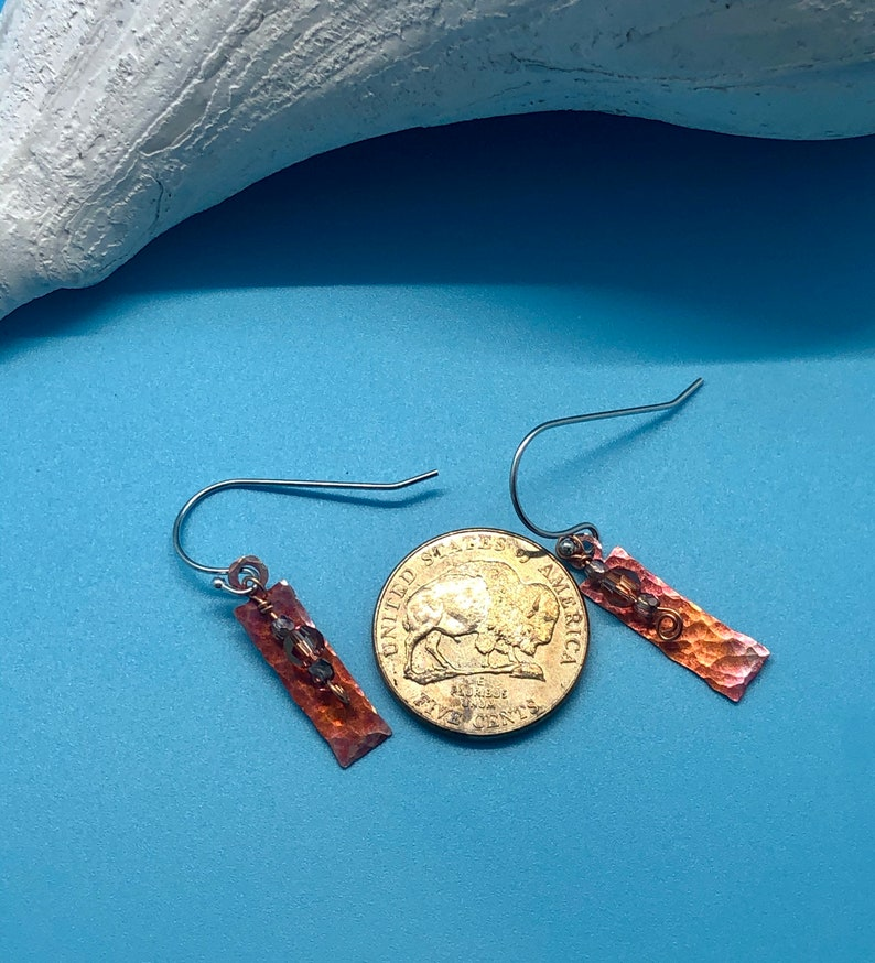 Rectangle fire patina copper with crystal accents