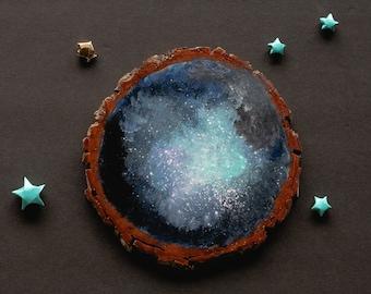 Galaxy Hand Painted Wood Slice Decoration