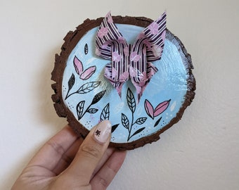 Butterfly Origami and Hand Painted Wood Slice Decoration