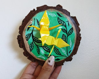 Crane Origami and Hand Painted Wood Slice Decoration