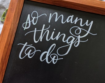 So Many Things To Do List,  11x14 Framed Chalkboard, Minimalist Floral Design