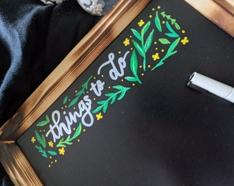 Things To Do, 11x14 Framed Chalkboard, Green Leaves and Yellow Flowers Decorative