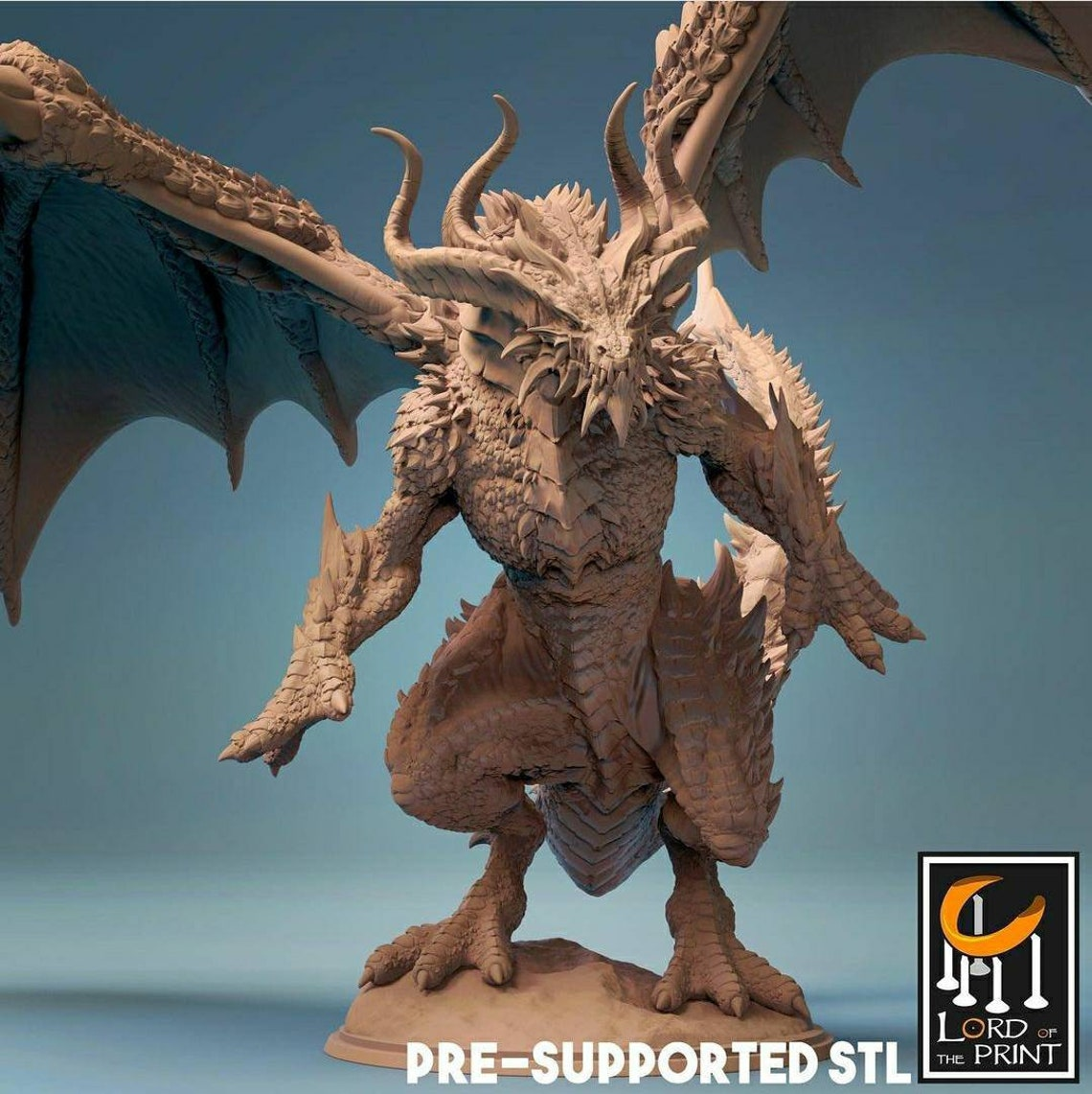 Bahamut Miniature by Lord of the Print 3D Printed DnD Mini image 0