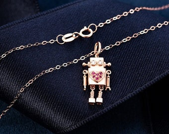 Delicate modern 14K rose gold necklace with robot pendant with diamonds for women's necklace