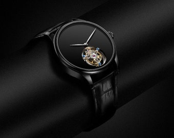 Modern meets Classic - Limited Luxury genuine leather wristwatch for men in black with a heart of flying tourbillon