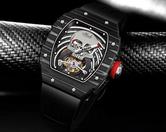 Cheeky Carbon Luminous Skeleton Limited Luxury Genuine Leather Wristwatch for Men in Black with a Heart of Flying Tourbillon