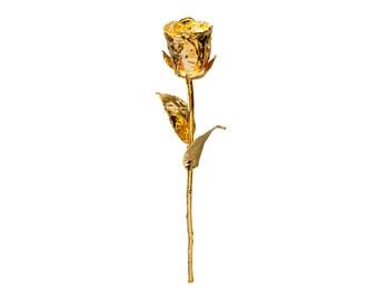 real 24-karat gold rose / silver rose 28 cm each