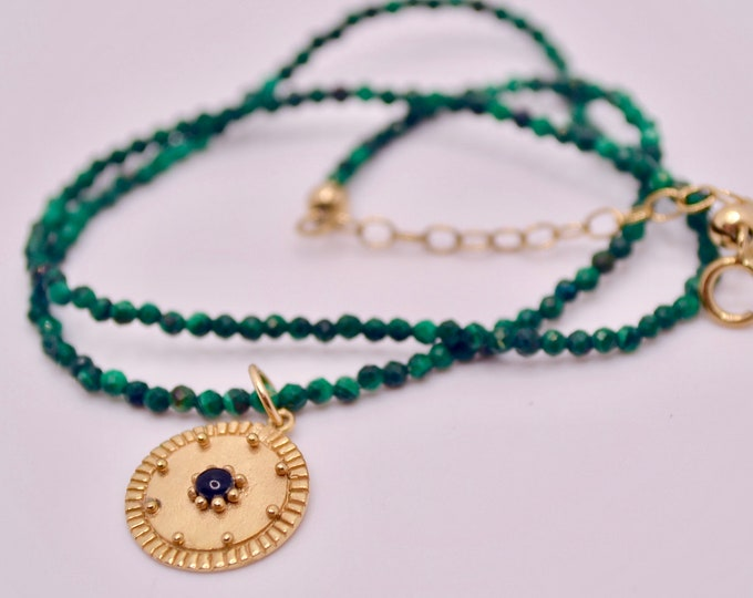 Faceted malachite bead necklace