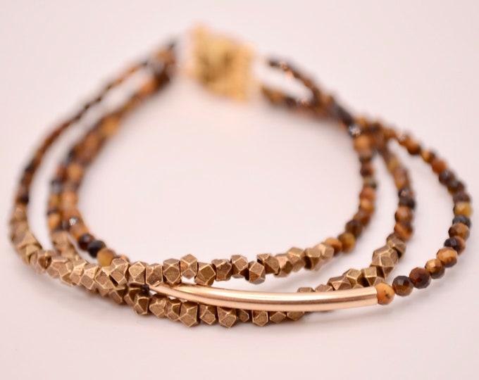 3-row tiger eye bracelet