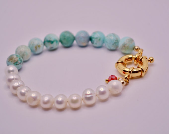 Peruvian cultured and turquoise bracelet