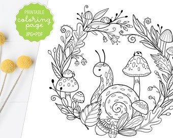 Wreath Coloring Page Etsy