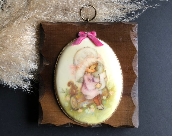 Vintage 70's Wood Plaque - Girl with Squirrel
