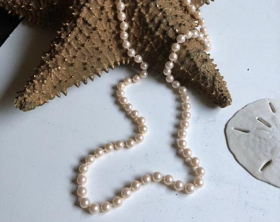 """Vintage 29"""" Natural-White Faux-Pearl Necklace"""