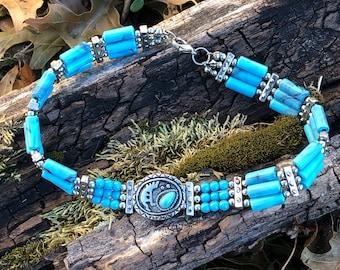 Fun Vintage Custom Beaded Turquoise Choker Necklace