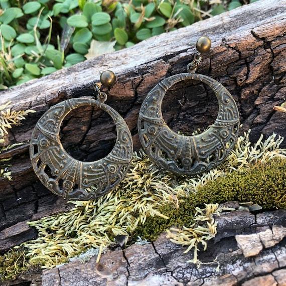 Vintage Antiqued Brass Boho Earrings