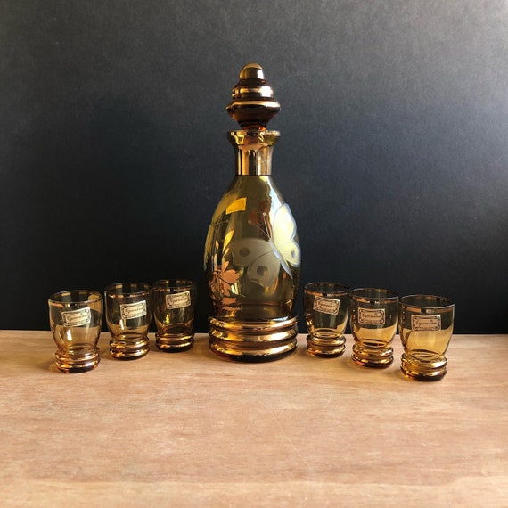 Vintage Bar Set - Amber Glass by Egermann Gold Butterfly Decanter with 6 Glasses