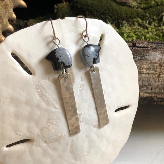 Vintage Zuni Bear-  Tribal Bear Stone and Silver Bar Dangle Earrings
