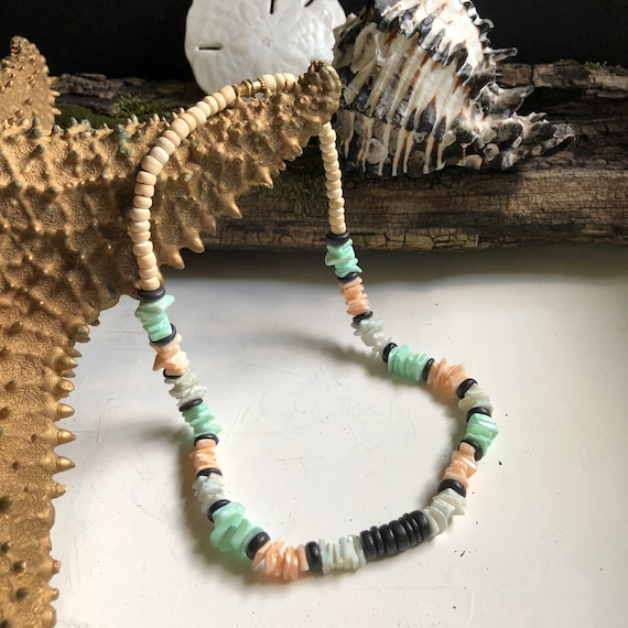 """Vintage 80's/90's Puka Shell Necklace 16"""" - Multi-color"""