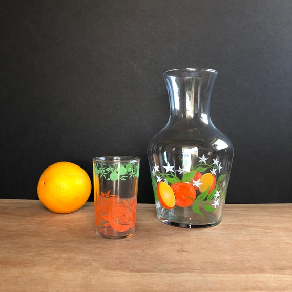 Vintage Orange Juice Jar with Juice Glass