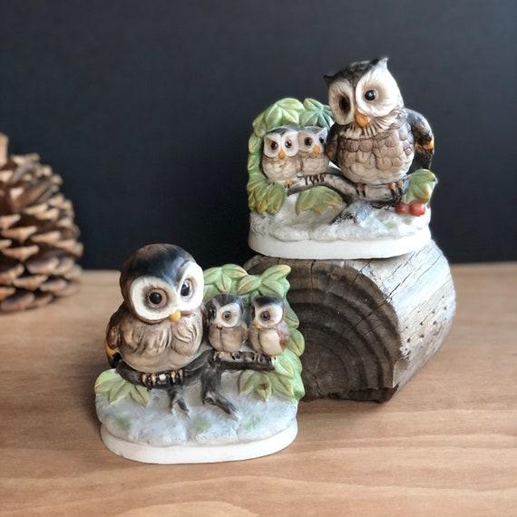 Vintage Homco Ceramic Owls - Set of Two - 1298