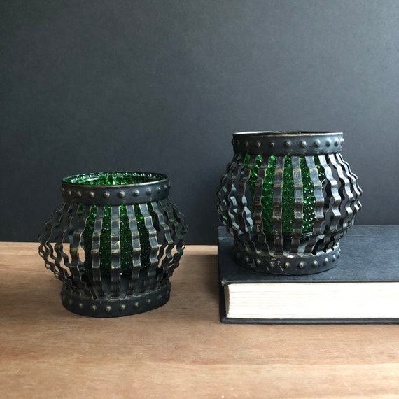 """Vintage Hobnail Green Glass """"Caged"""" Candle Holders - Made in Mexico"""