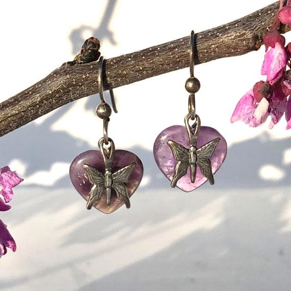 Vintage Sterling Silver Amethyst Heart and Butterfly Earrings