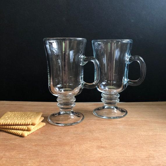 Vintage Clear Glass Irish Coffee Mugs - Set of Two