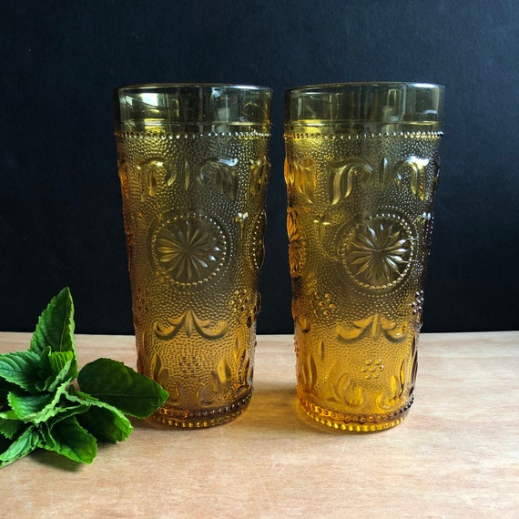 Vintage Indiana Glass Tiara Amber Gold Sandwich Glasses - Set of Two