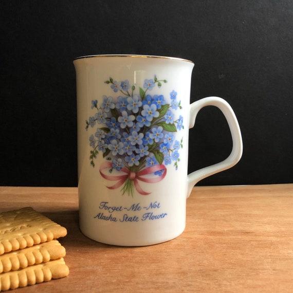Vintage Forget Me Not Alaska State Flower Mug - Flower Mug