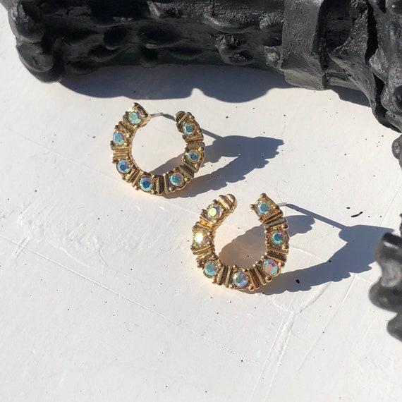 Vintage 90's Avon AB Crystal Gold-Tone Twisted Hoop Earrings