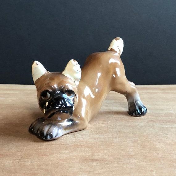 Vintage Ceramic Brown Boxer - Made in Japan