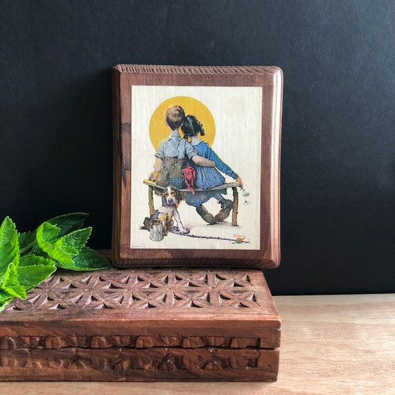 """Vintage 70's Norman Rockwell Wooden Wall Plaque 6"""""""