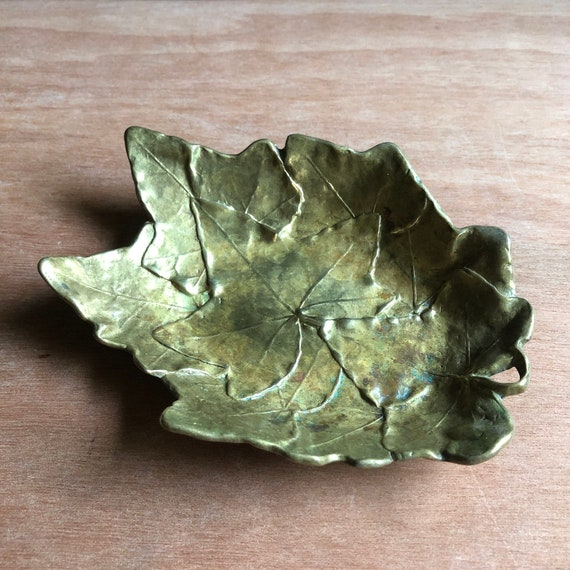 Vintage English Ivy Solid Brass Dish
