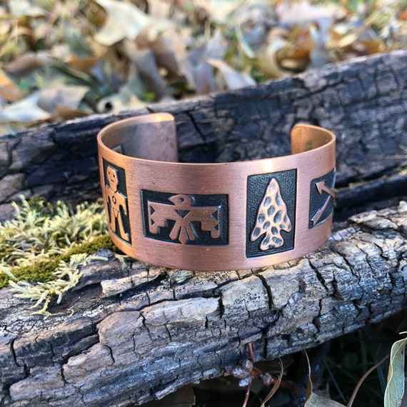 Vintage Copper Tribal Stamped Cuff