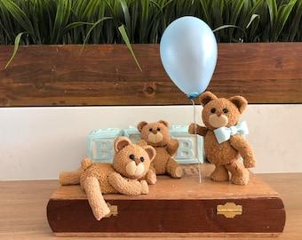 3 Teddy Bear Baby Shower, Fondant Teddy Bear Cake Topper, Boy Baby Shower, Baby Teddy Bear, Teddy Bear and Bow, Cold Porcelain Teddy Bear