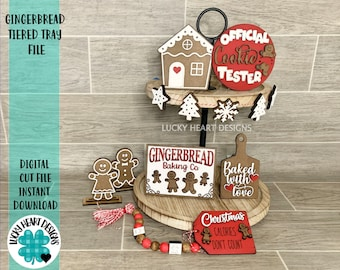 Gingerbread Tiered Tray File SVG, Glowforge Christmas Tier Tray, LuckyHeartDesignsCo