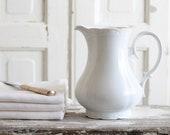 Antique medium sized white ironstone pitcher vintage porcelain jug romantic ornate design shabby chic style