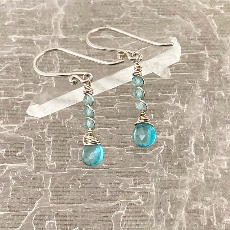 Petite Aqua Apatite and Sterling Silver Wire Wrapped Dangle Earrings Crystal Faerie